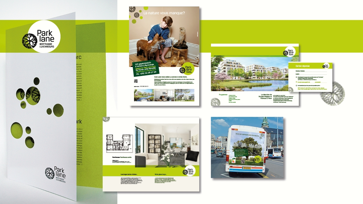 PARKLANE LOGO, BROCHURE IMMOBILIERE, CAMPAGNE, BUS FULL BACK